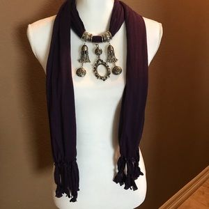 Accessories - Purple scarf with decorative hardware accents